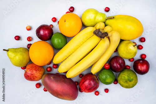 Photo Fruits collection, creative layout seen from the top