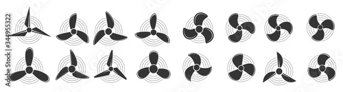 Cuadros en Lienzo Propeller icon, Aircraft propeller icons, symbols fan rotating  isolated on a white background