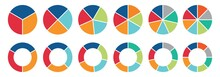 Pie Chart Set, Circle Icons For Infographic. Colorful Diagram Collection With  ,3,4,5,6,7,8 Sections And Steps. Pie Chart For Data Analysis, Business Presentation, UI, Web Design. Vector Illustration.