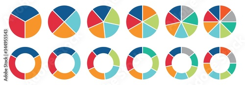 Foto Pie chart set, Circle icons for infographic