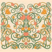 Floral Wallpaper In Art Nouveau Style, Vector Illustration