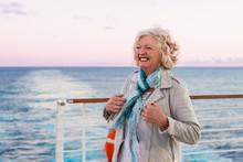 Senior Woman On A Cruise Ship