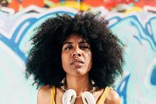 Afro Woman Looking At Camera I...
