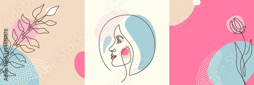 Beauty backgrounds set in minimal line style with woman face profile, flower, plant, circle design elements, dots texture. Linear female portrait. Vector illustration