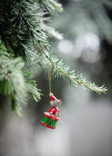 Mouse On Drum Vintage Wooden Christmas Decoration Hanging From Conifer Tree In Garden
