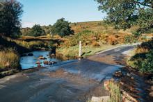 Ford Crossing A River On The Moors. North Yorkshire, UK