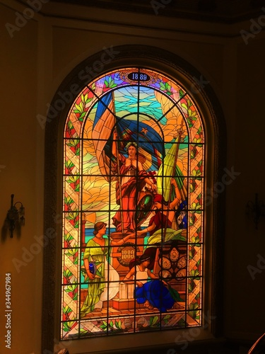 stained glass window in church Canvas Print