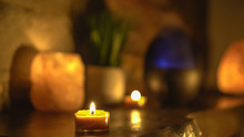 Close-up Of Burning Tealight C...
