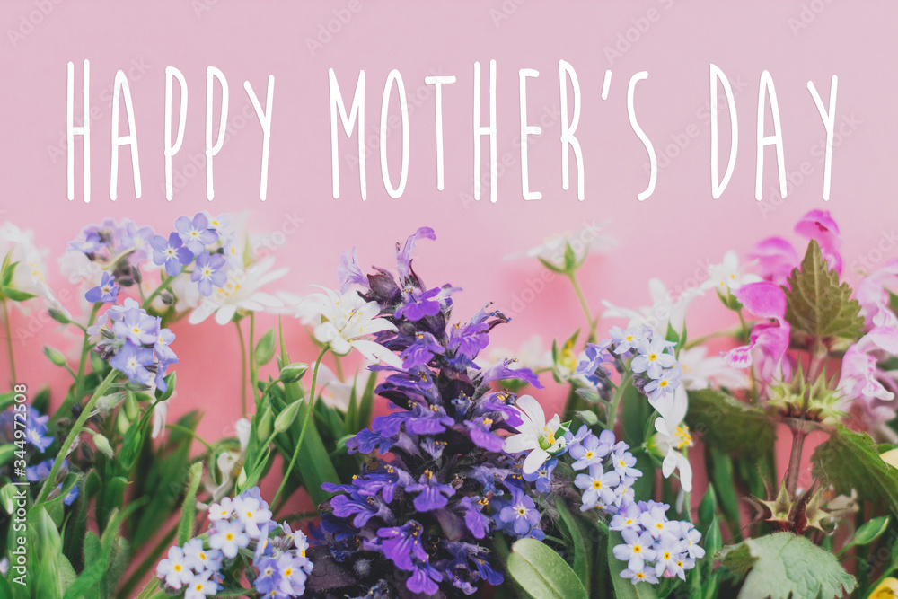 Fototapeta Happy Mother's day text, greeting card. Colorful spring flowers border on pink background flat lay with greeting sign. Floral greeting card. Happy Mothers day concept