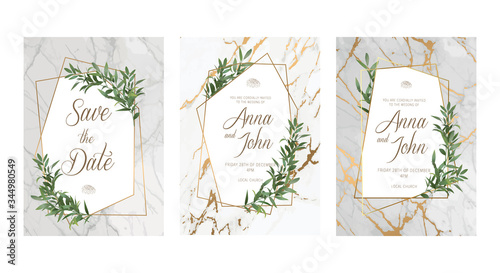Fototapety, obrazy: Elegant Wedding floral invitation, thank you modern card: ruscus italian wreath on white marble texture with a golden geometric pattern. Elegant rustic template. All elements are isolated and editable