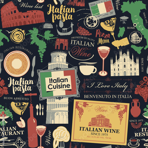 Vector abstract seamless pattern on the theme of Italy and Italian cuisine in retro style on the black background Fototapeta