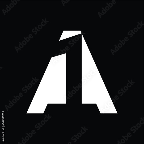 Initial letter and number logo, A and 1, A1, 1A, black negative space Canvas Print