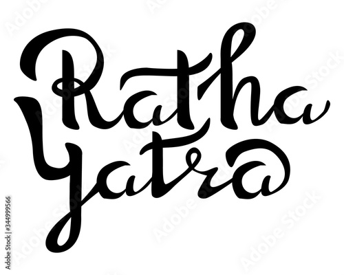 Fototapeta Happy Ratha Yatra day emblem isolated vector illustration on white background