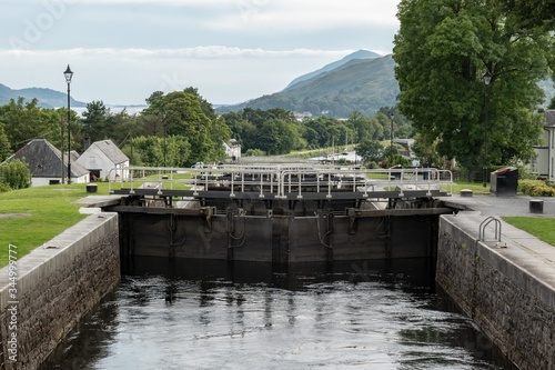 Detail of gate locks at Caledonian Canal in Fort William, Scotland Canvas Print