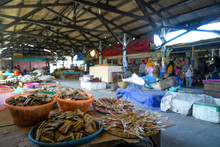 Dried Fish Meat Cut For Sale In The Market. Traditional Market Indonesia, Ikan Asin
