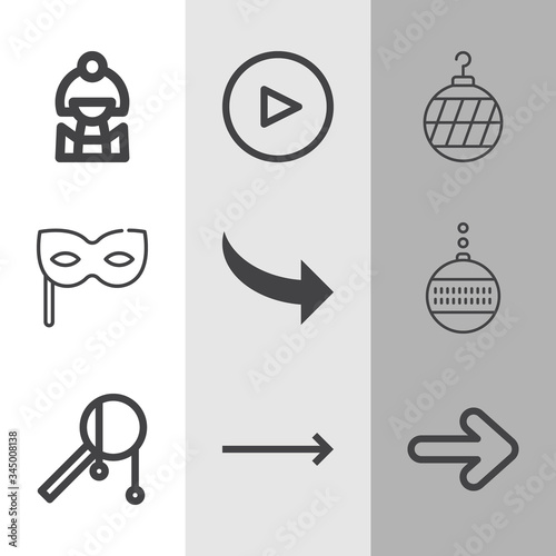 Simple collection of decade related lineal icons Canvas-taulu