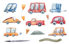 Watercolor Hand Painted Cartoon Cars Clipart. Cute Illustration On White Background. Perfect For Baby's Birthday Invitations, Pattern, Greeting Card, Print, Fabric, Textile, Scrapbooking, Stickers