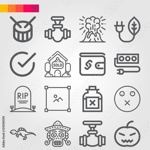 Simple set of 16 icons related to extinct Fototapet