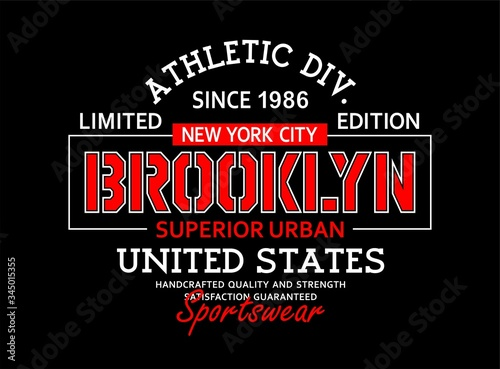 Canvas Print Typography vintage, Brooklyn t-shirt graphics, poster, vector illustration