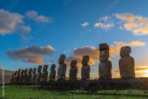 Silhouette of Moai Statues at Sunrise, Ahu Tongariki, Easter Island (Rapa Nui), Chile Canvas Print