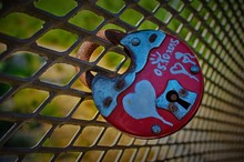 Round Red Padlock With Painted...