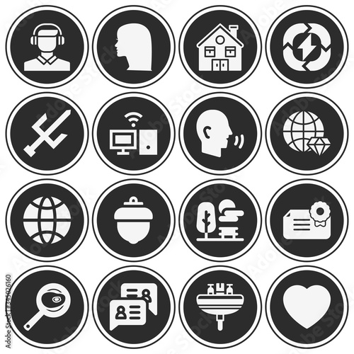 16 pack of aspect  filled web icons set Wallpaper Mural