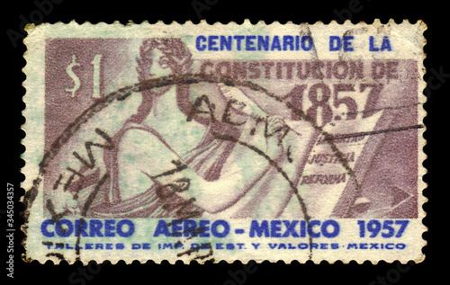 MEXICO - CIRCA 1957: a stamp printed in the Mexico shows Allegorical figure writ Canvas Print