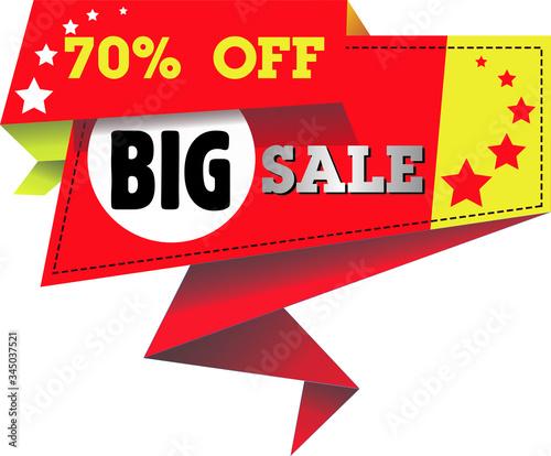 Papel de parede 70% off. Big Sale. 70% discount. 3d Sign on Red Background.