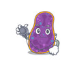 Shigella sp. bacteria in doctor cartoon character with tools