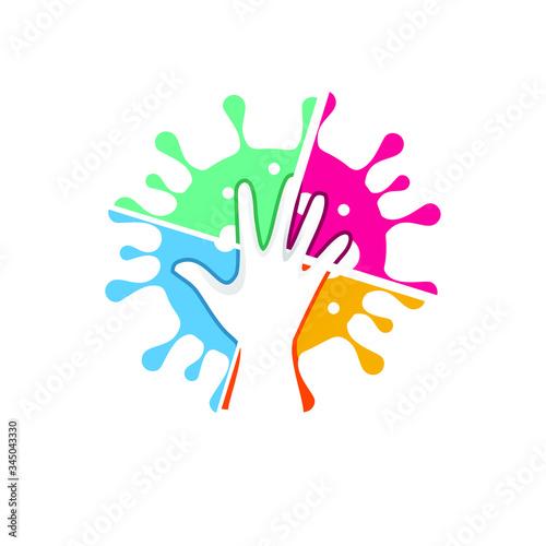 Fototapeta hands smash the colorful virus and germs vector illustration obraz na płótnie