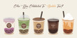 Bubble tea cup design collection, Yummy drinks, soft drinks with doodle style banner, Bubble milk tea ads with delicious tapioca and pearl, bubble tea menu graphic template.