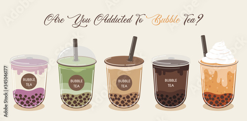 Photo Bubble tea cup design collection, Yummy drinks, soft drinks with doodle style banner, Bubble milk tea ads with delicious tapioca and pearl, bubble tea menu graphic template