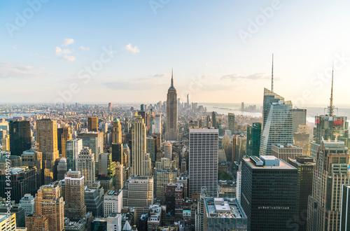 Fototapety, obrazy: New York city skyline at sunset.