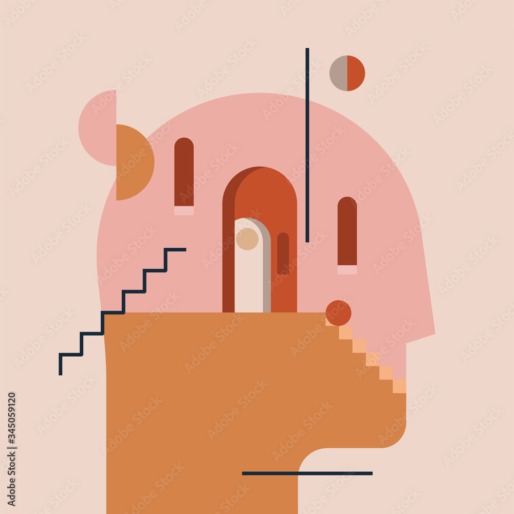 Fototapeta Inner world. Thinking process. Open mind. Humans head silhouette with modern minimal architecture and abstract geometric shapes inside. Psychologic psychotherapy concept. Vector illustration