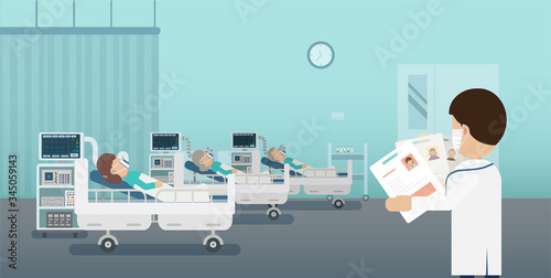 Doctor with group of critical patients and ventilators flat design vector illust Canvas Print