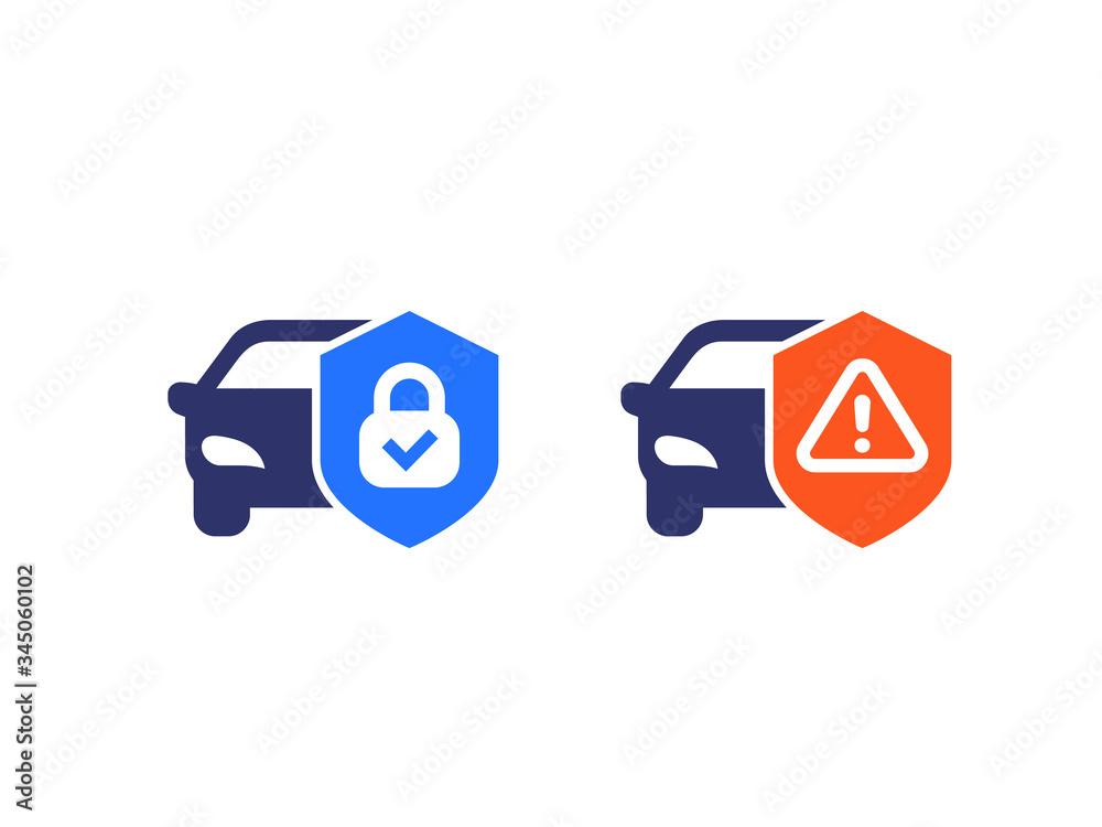 Fototapeta car alarm, protection warning vector icons