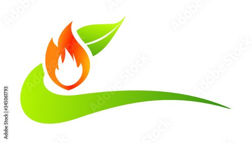 Valokuvatapetti chauffage écologique vert logo