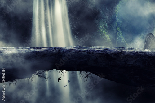 Fotografía a natural bridge with a background of rivers and waterfalls and shrouded in mist