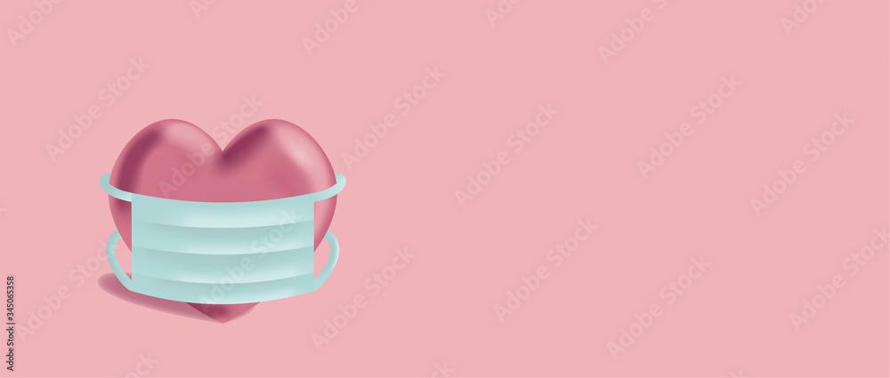Fototapeta Karte mit rosa pastellfarbigem Herz mit Maske in blau rosa Hintergrund. 3d-Effekt