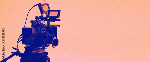 Fotomural Colorful images of behind the scenes shooting production crew team and hd video