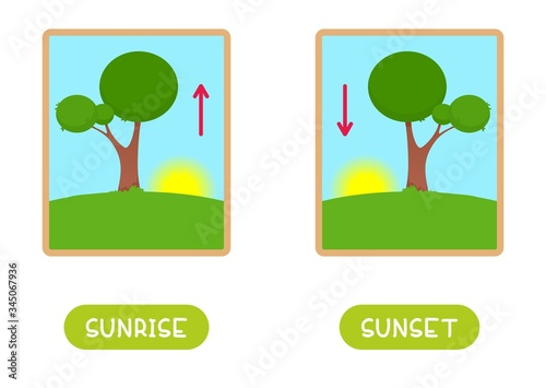 Antonyms concept, SUNRISE and SUNSET Wallpaper Mural