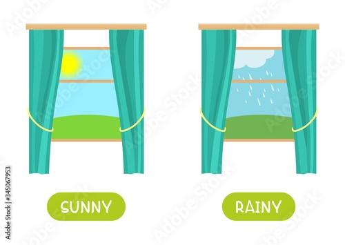 Antonyms concept, SUNNY and RAINY Canvas Print