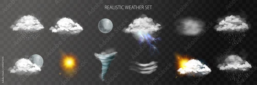 Fototapeta Realistic Weather Transparent Set