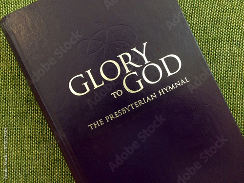 presbyterian glory of god hymnal book on green Wallpaper Mural