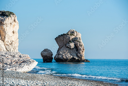 Seascape of the Rock of Aphrodite coast, at Paphos in Cyprus Wallpaper Mural