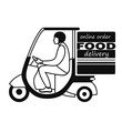 delivering the food to the car. black and white drawing with the inscription on the box food delivery, online order. stock vector illustration. EPS 10.