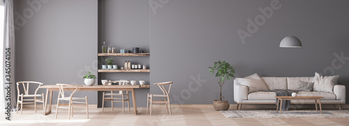 Panorama of living room space with white comfy sofa and wooden dining area on gr Fototapeta