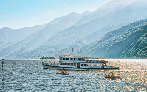 Obraz na plátne Excursion ferry at Ascona luxury tourist resort on Lake Maggiore