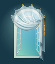 Window Billowing Curtains Composition