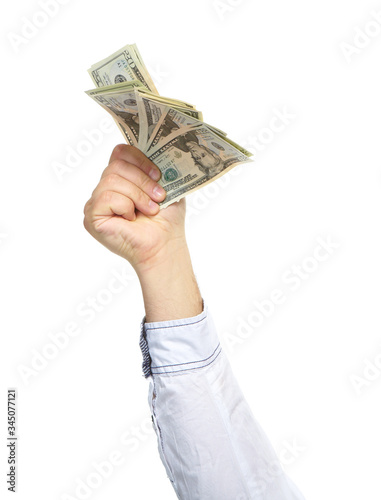 Hands with money Canvas Print